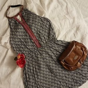 BoHo halter embroidered top/tunic